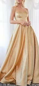Gold ball gown, evening pageant prom party dress